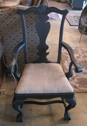 Black Chippendale Burlap Arm Chair