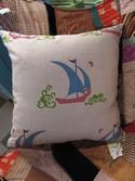 Natural/Turquoise Linen Asian Sailboat Accent Pillow