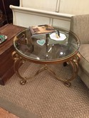"""28"""" Round Glass Top Gold End Table"""