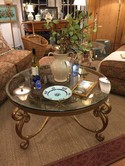 "38"" Round Glass Top Gold Coffee Table"