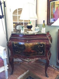 French Green Marble Top Server / Bombay Chest