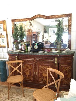 French Green Marble Top Server w/ Mirror