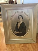 Rect. White Wash Frame Glass Oval Matt of Portrait of a Women