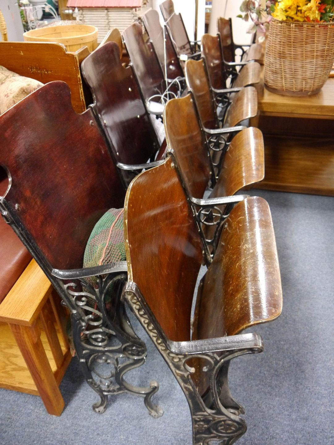 View Detailed Images 2 ... - Vintage Wooden Seating Theater Chairs, Cast Iron Ends, 5 Seats