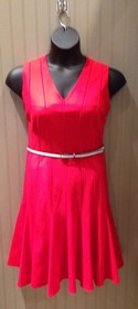 Ellen Tracy NEW Size 14 Red Lined Belted Flared sleeveless Dress