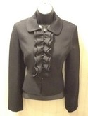 Ann Taylor Loft Used Size 2P Black Wool Ruffled Jacket