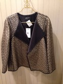 Lafayette 148 NEW Size L Black & Platinum Wool Blend Textured Jacket
