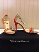 Alexandre Birman NEW Size 8 Tan & Red Suede Snakeskin strappy Heels