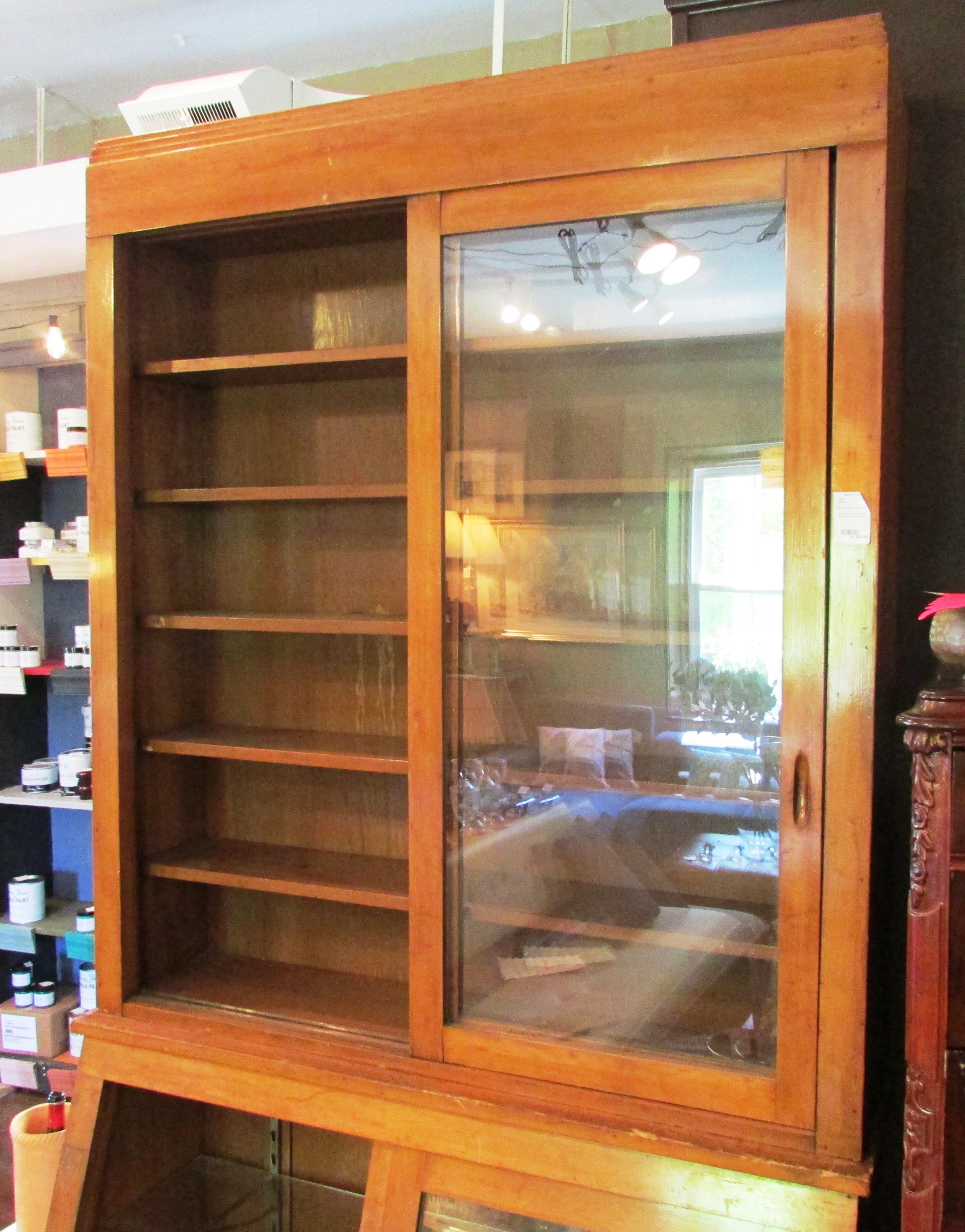 Antique Oak Store Pharmacy Back Apothecary Showcase Cabinet ...