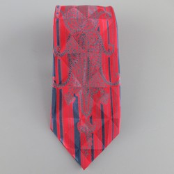 1980s GIANNI VERSACE Red & Black Abstract Pasiley Geometric Textured Silk Tie