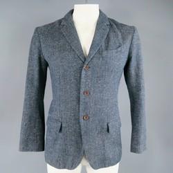 45rpm 40 Dark Indigo Grey Heathered Cotton Soft Shoulder Sport Coat Jacket