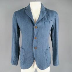 45rpm 40 Indigo Linen / Cotton Woven Textured Soft Sport Coat Jacket