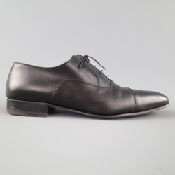 A. TESTONI BASIC Size 10.5 Black Leather Cap Toe Lace Up