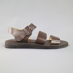 A.P.C. Size 12 Brown Leather Crepe Sole Gladiator Sandals
