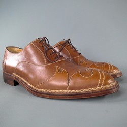 A.TESTONI Size 8.5 Brown Leather Lace Up