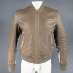 ACNE 42 Taupe & Metallic Silver Leather Bomber Jacket
