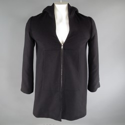 AGNES B. Size 38 Black Wool Blend Knit Hooded Zip Coat