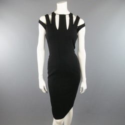 AKRIS Size 6 Black Zip Slit Cutout Shoulder Sleeveless Sheath  Dress