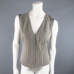 AKRIS Size 6 Taupe Layered Silk Mesh Fringe Sleeveless Blouse