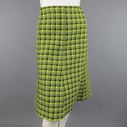 AKRIS Size 8 Green & Brown Diamond Tweed A line Flare Skirt