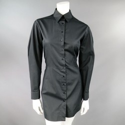 ALAIA Size 10 Black Cotton Gathered Back Skirt Collared Shirt  Dress