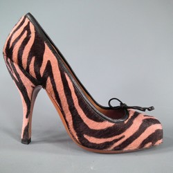 ALAIA Size 6 Pink Zebra Tiger Pony Hair Square Toe Bow Pumps
