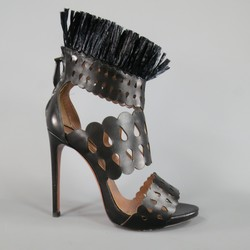 ALAIA Size 8.5 Black Cutout Leather Fringe Ankle Sandals