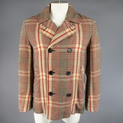 ALEXANDER MCQUEEN 40 Khaki & Red Plaid Cotton / Wool Light Weight Peacoat