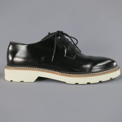 ALEXANDER MCQUEEN Size 12 Black Leather White Sole Lace Up