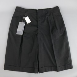 ALEXANDER MCQUEEN Size 36 Black Cotton Pleated Cuffed Shorts
