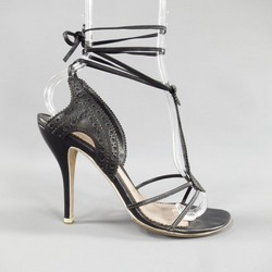 ALEXANDER MCQUEEN Size 7.5 Black Brogue Leather Ankle Tie Strap Sandals