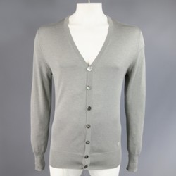 ALEXANDER MCQUEEN Size L Gray Silk / Cashmere Skull Embroidered Cardigan