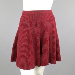 ALEXANDER MCQUEEN Size M Burgundy Wool Knit Ruffled Mini Skirt