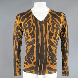 ALEXANDER MCQUEEN Size S Brown Leopard Cheetah Animal Print Wool Pullover