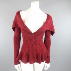 ALEXANDER MCQUEEN Size S Burgundy Wool Shawl Collar Peplum Cardigan