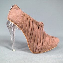 ALEXANDER WANG Size 6 NATASHA Brown Pleated Suede Cleer Heel Booties