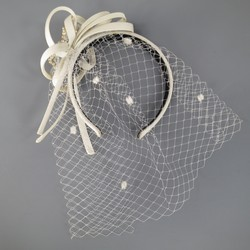 ALEXANDRE de PARIS Cream Silk Embellished Headband with Veil