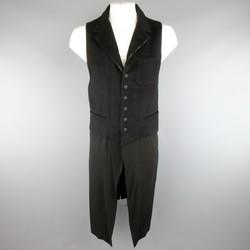 ANN DEMEULEMEESTER L Black Textured Notch Lapel Extended Layer Vest