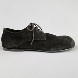 ANN DEMEULEMEESTER Size 10 Black Distressed Suede Round Toe Lace Up