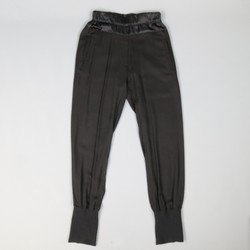 ANN DEMEULEMEESTER Size 4 Black Rayon Thick Silk Waistband Trousers
