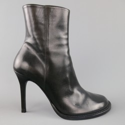 ANN DEMEULEMEESTER Size 6.5 Black Leather GLOVE Ankle Boots
