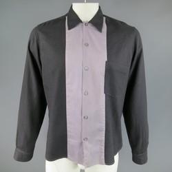 ANN DEMEULEMEESTER Size M Charcoal & Lavender Color Block Wool / Cotton Shirt