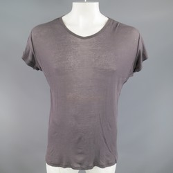 ANN DEMEULEMEESTER Size S Charcoal Gray See Through Cotton Sheer T-shirt