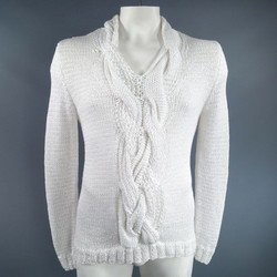 ANN DEMEULEMEESTER Size S Chunky White Mesh Cable Knit V Neck Sweater
