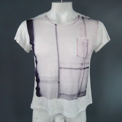 ANN DEMEULEMEESTER Size S White Cotton Purple Stripe Graphic T-shirt