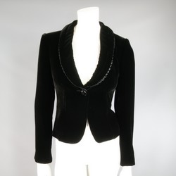 ARMANI COLLEZIONI Size 4 Black Velvet Under Ruffle Shawl Collar Tuxedo Jacket