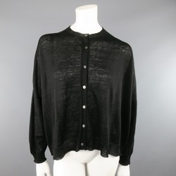 ARTS& SCIENCE Size S Black Sheer Linen Oversized Cardigan