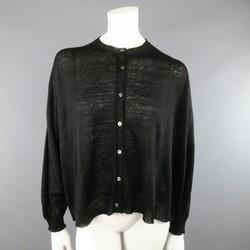 ARTS& SCIENCE Size S Black Sheer Linen Oversized Cardigan