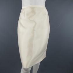BADGLEY MISCHKA Size 6 Cream Structured Satin Pencil Skirt