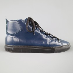BALENCIAGA Size 11 Teal Navy Textured Leather ARENA Sneakers